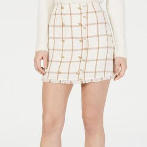 Leyden Monroe Printed Mini Skirt Plaid Tweed